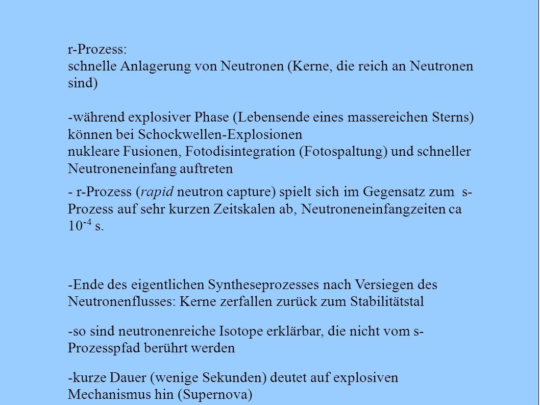 r-Prozess: schnelle Anlagerung von Neutronen (Kerne, die reich an Neutronen sind)
