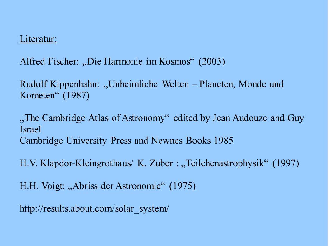 """Literatur: Alfred Fischer: """"Die Harmonie im Kosmos (2003) Rudolf Kippenhahn: """"Unheimliche Welten – Planeten, Monde und Kometen (1987)"""