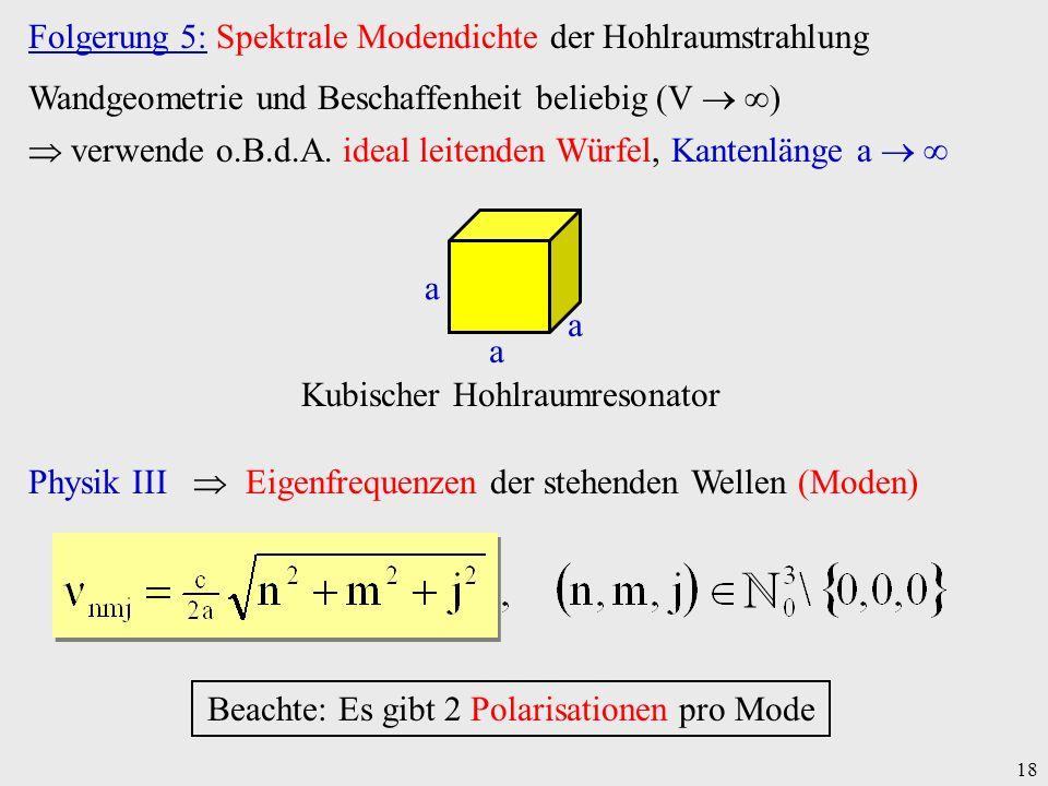 ℕ Folgerung 5: Spektrale Modendichte der Hohlraumstrahlung