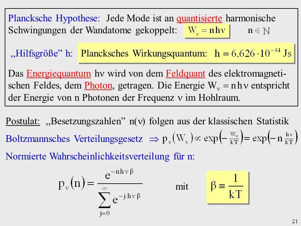 Plancksche Hypothese: Jede Mode ist an quantisierte harmonische Schwingungen der Wandatome gekoppelt: