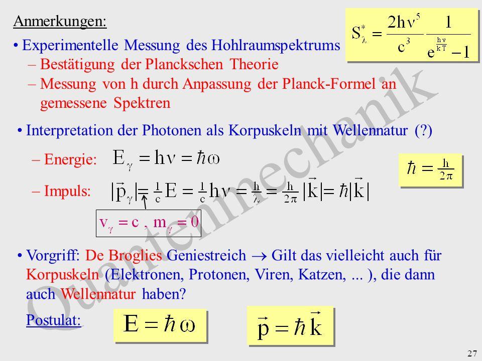 Quantenmechanik Anmerkungen: