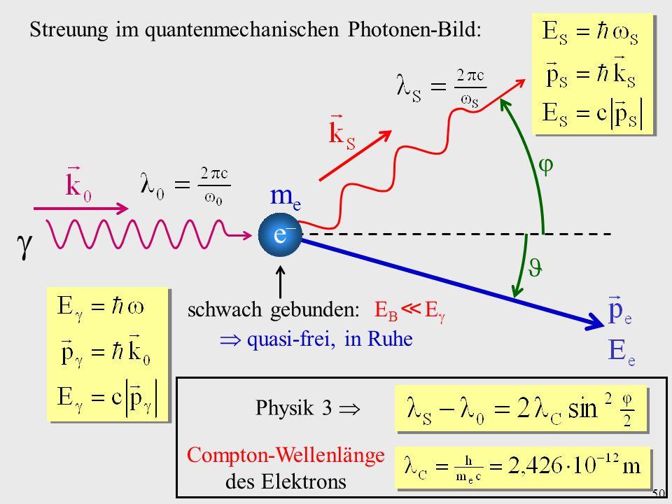  me e   Streuung im quantenmechanischen Photonen-Bild: