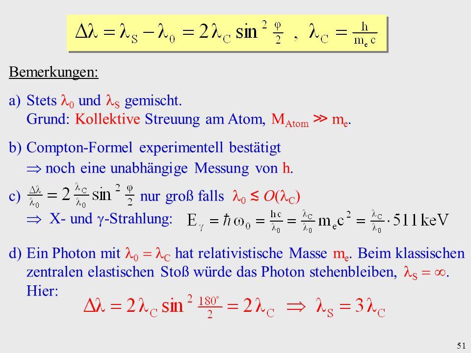 Bemerkungen: Stets 0 und S gemischt. Grund: Kollektive Streuung am Atom, MAtom ≫ me. Compton-Formel experimentell bestätigt.