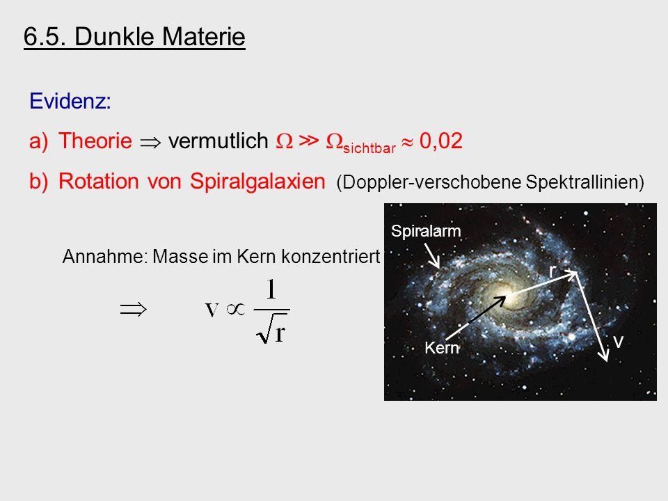6.5. Dunkle Materie Evidenz: Theorie  vermutlich W ≫ Wsichtbar  0,02