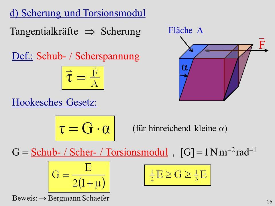 α d) Scherung und Torsionsmodul Tangentialkräfte  Scherung
