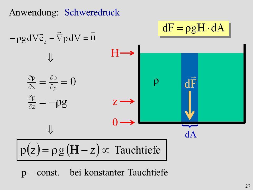 H ρ z Tauchtiefe Anwendung: Schweredruck   dA