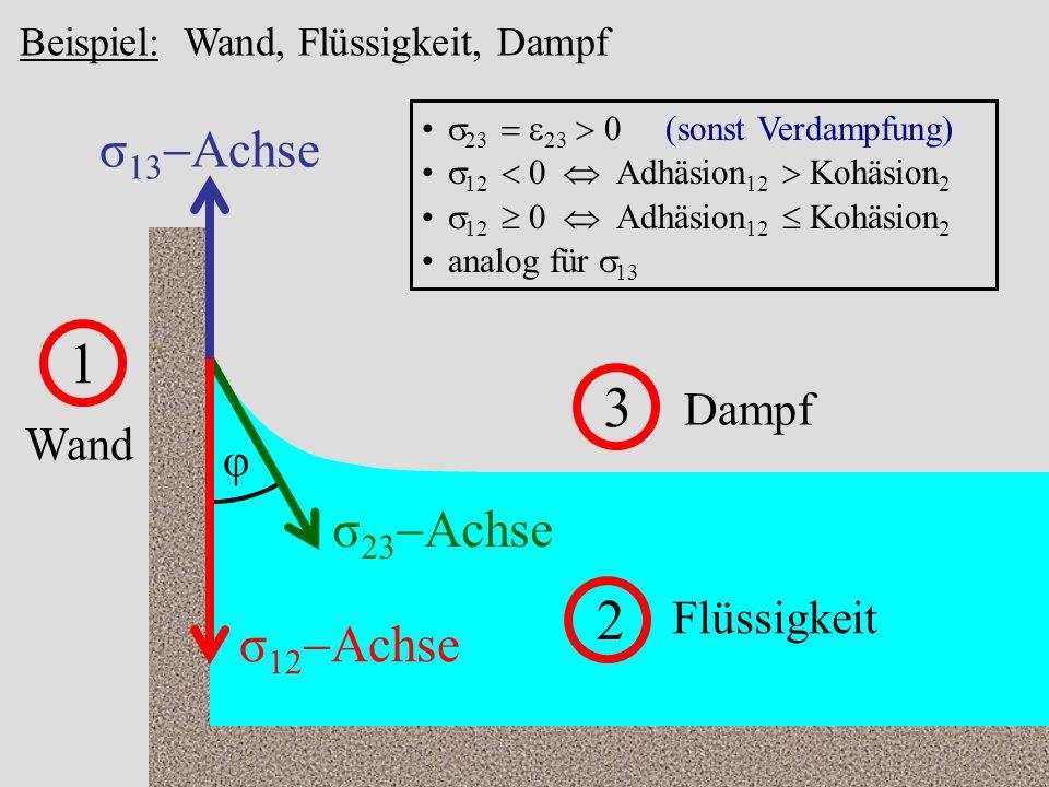 1 3 2 σ13-Achse σ23-Achse σ12-Achse Dampf Wand φ Flüssigkeit