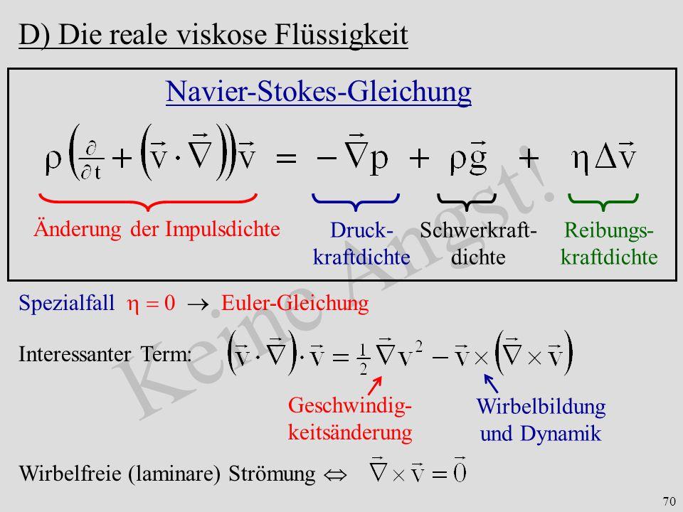 Keine Angst! D) Die reale viskose Flüssigkeit Navier-Stokes-Gleichung