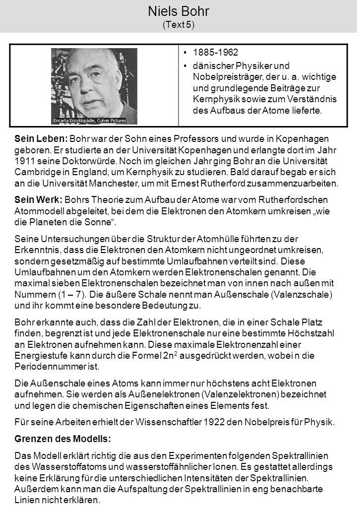 Niels Bohr (Text 5)1885-1962.
