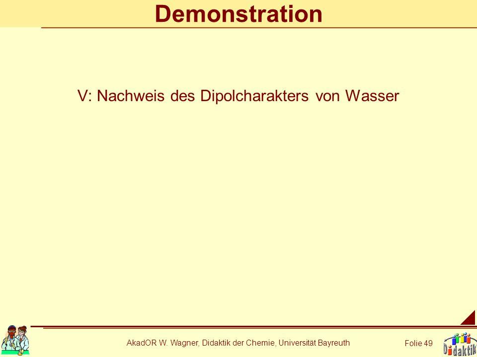 Demonstration V: Nachweis des Dipolcharakters von Wasser