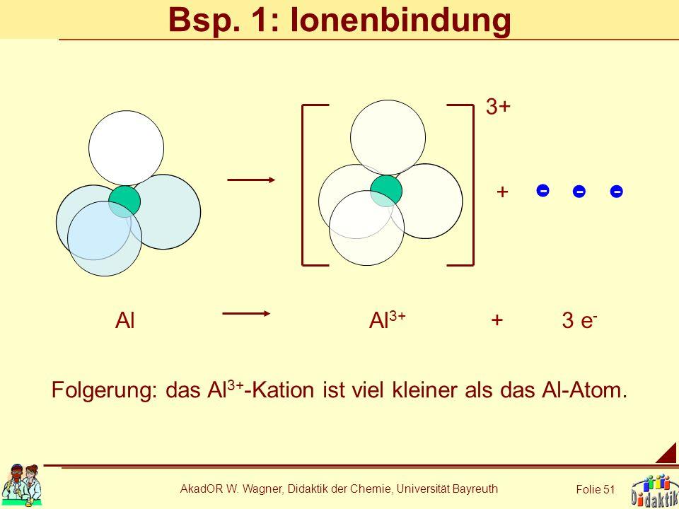 Bsp. 1: Ionenbindung 3+ + - Al Al3+ + 3 e-