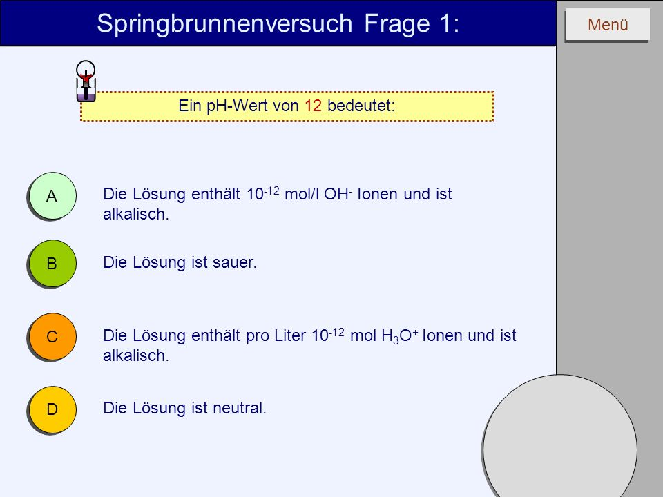 Springbrunnenversuch Frage 1: