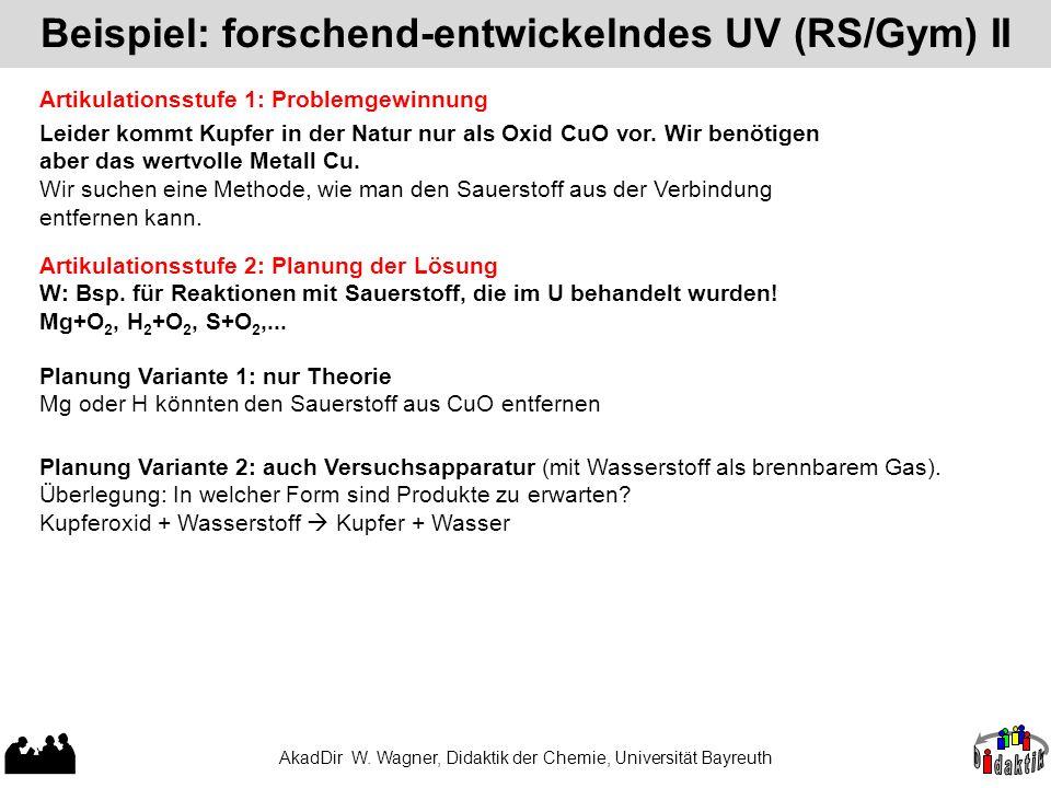 Beispiel: forschend-entwickelndes UV (RS/Gym) II