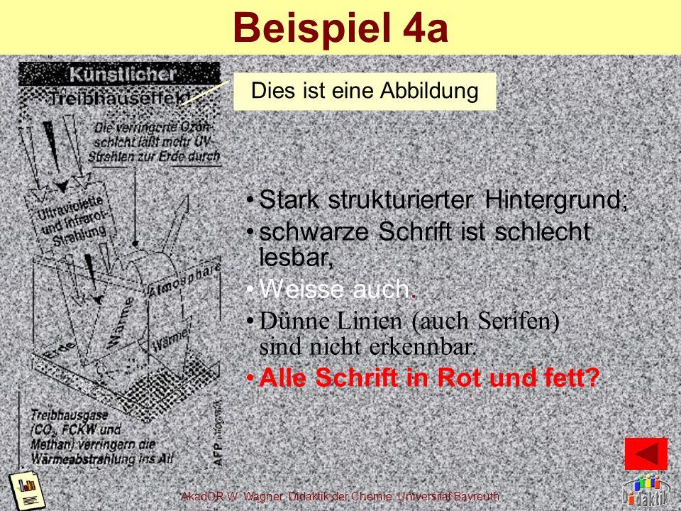 Beispiel 4a Stark strukturierter Hintergrund;