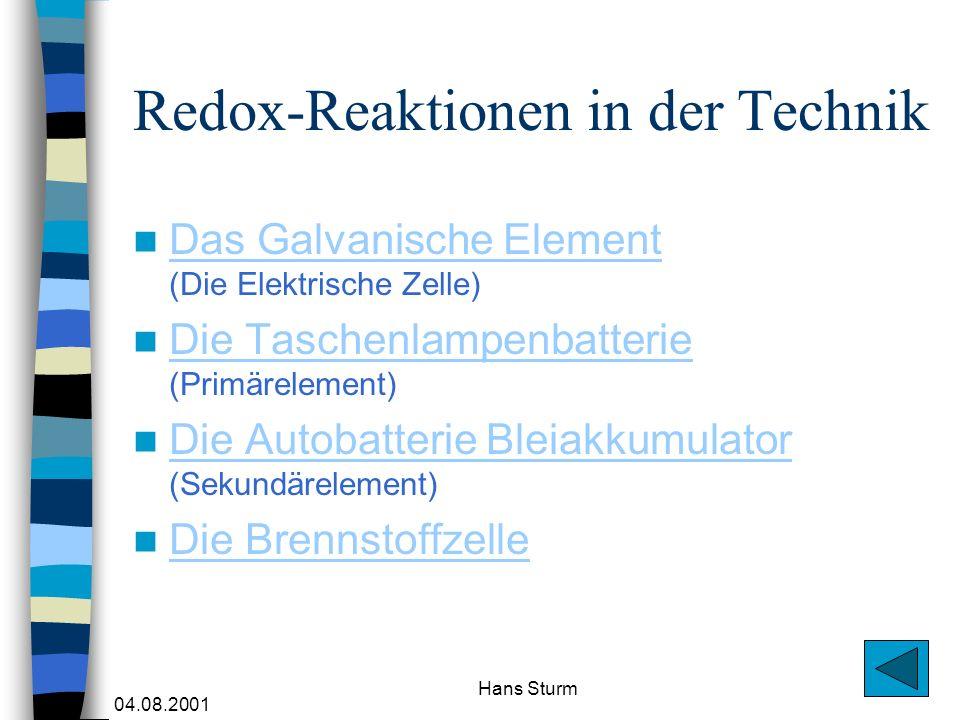 Redox-Reaktionen in der Technik