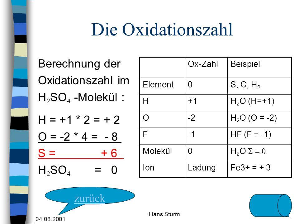 Die Oxidationszahl Berechnung der Oxidationszahl im H2SO4 -Molekül :