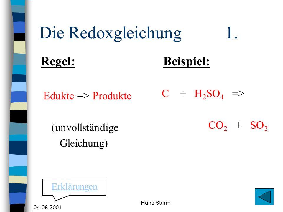 Die Redoxgleichung 1. Regel: Beispiel: C + H2SO4 =>