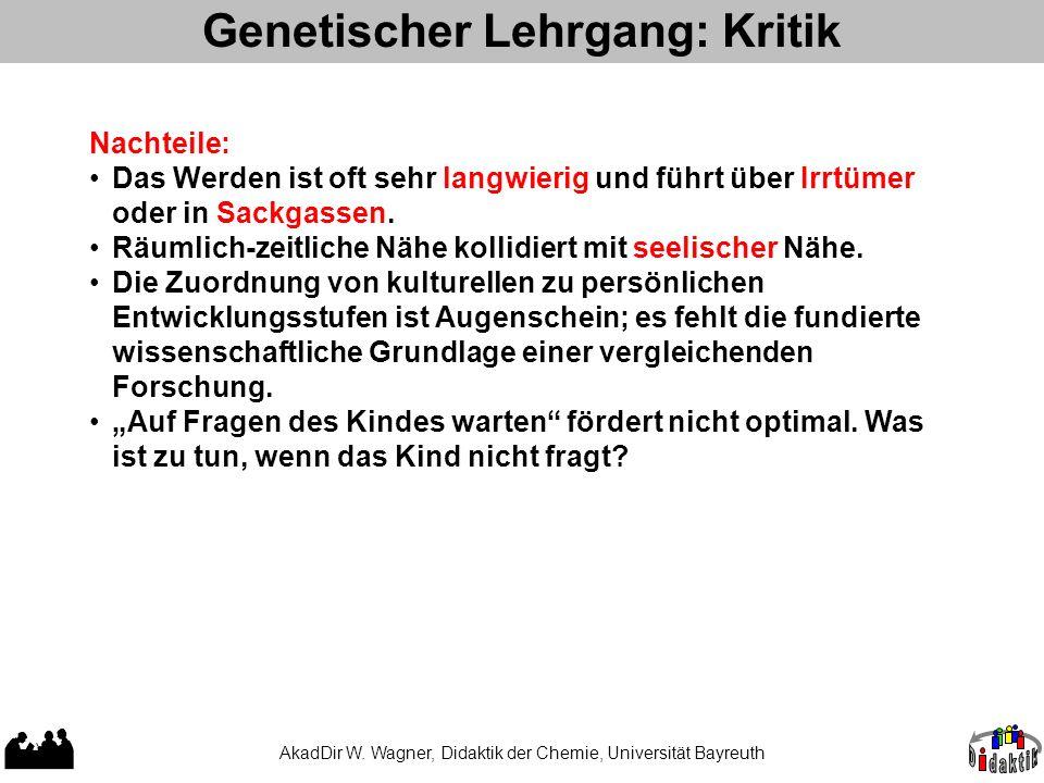 Genetischer Lehrgang: Kritik