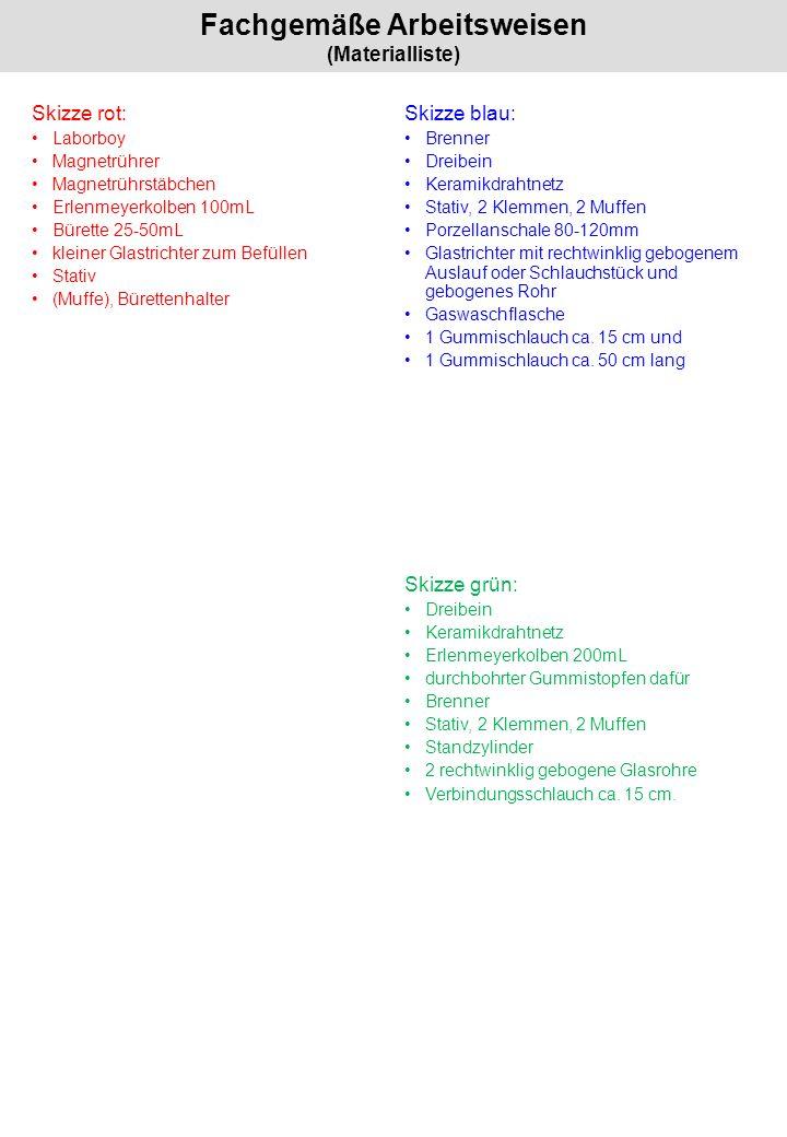 Fachgemäße Arbeitsweisen (Materialliste)