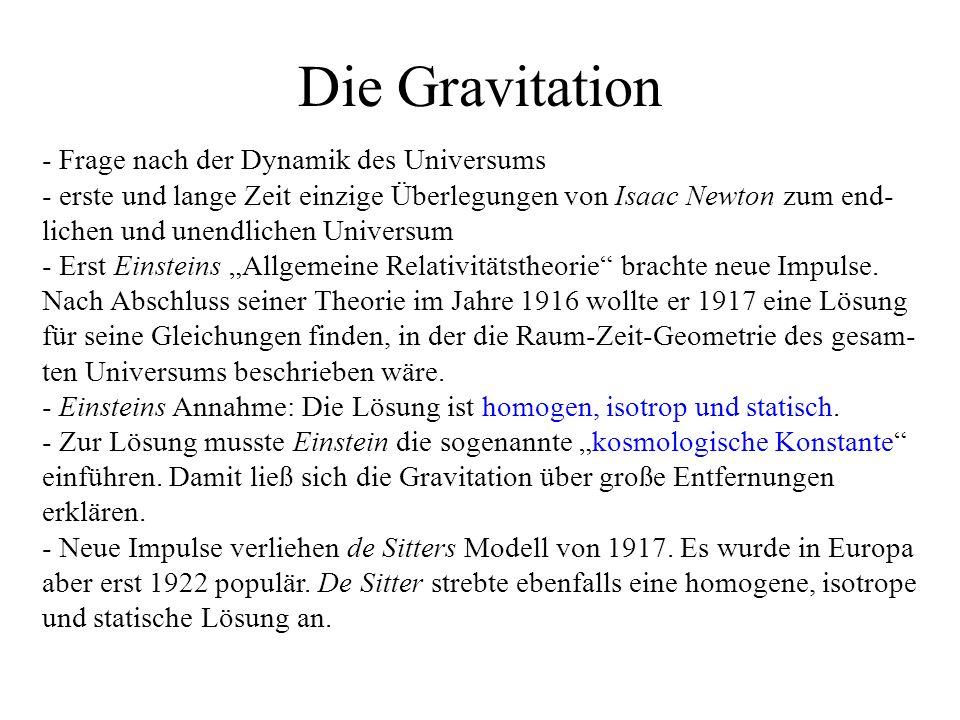 Die Gravitation - Frage nach der Dynamik des Universums