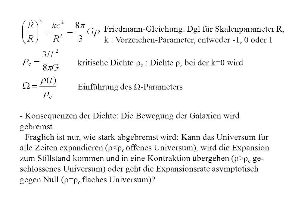 Friedmann-Gleichung: Dgl für Skalenparameter R,