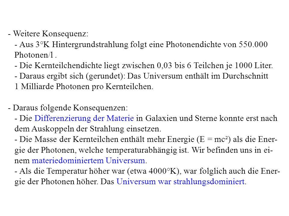 - Weitere Konsequenz: - Aus 3°K Hintergrundstrahlung folgt eine Photonendichte von 550.000. Photonen/l .