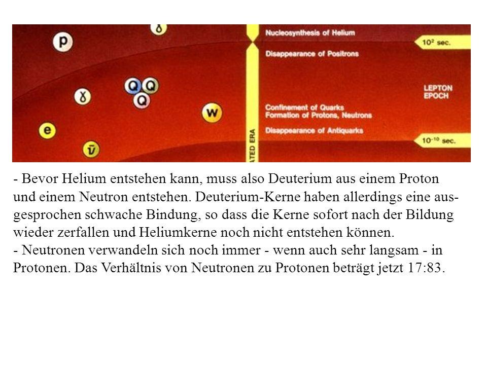 - Bevor Helium entstehen kann, muss also Deuterium aus einem Proton