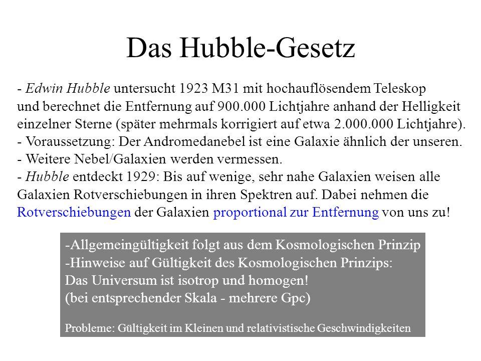 Das Hubble-Gesetz - Edwin Hubble untersucht 1923 M31 mit hochauflösendem Teleskop.