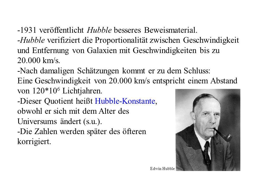 -1931 veröffentlicht Hubble besseres Beweismaterial.