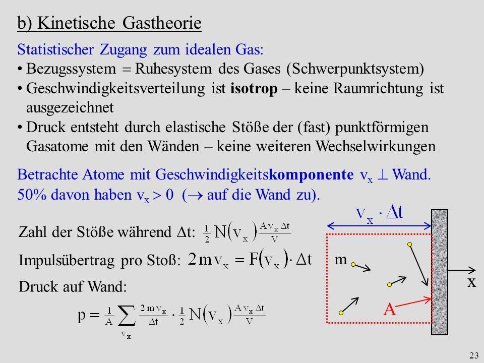 b) Kinetische Gastheorie