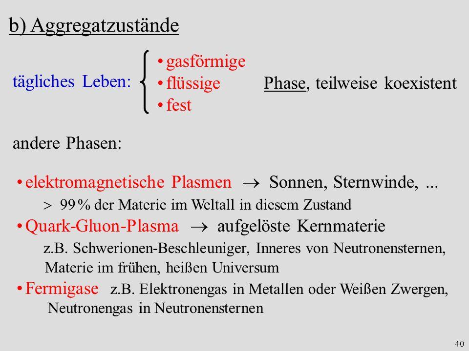 b) Aggregatzustände gasförmige flüssige Phase, teilweise koexistent