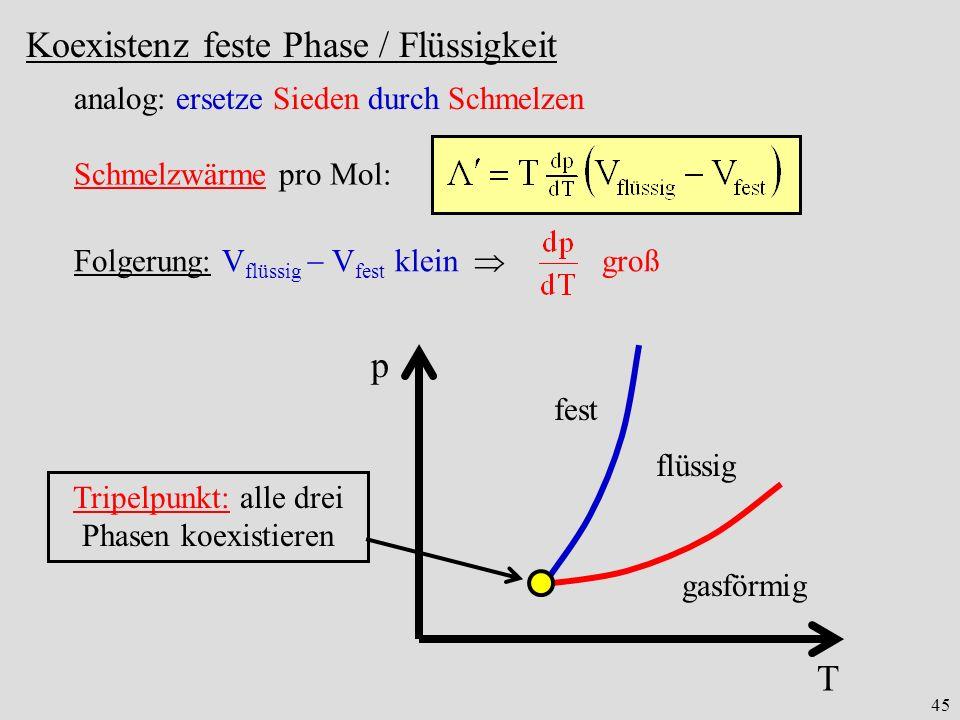 Tripelpunkt: alle drei Phasen koexistieren
