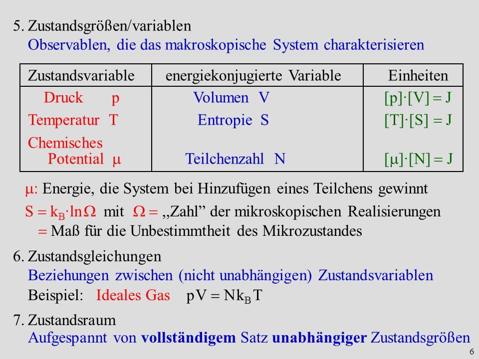 Zustandsgrößen/variablen