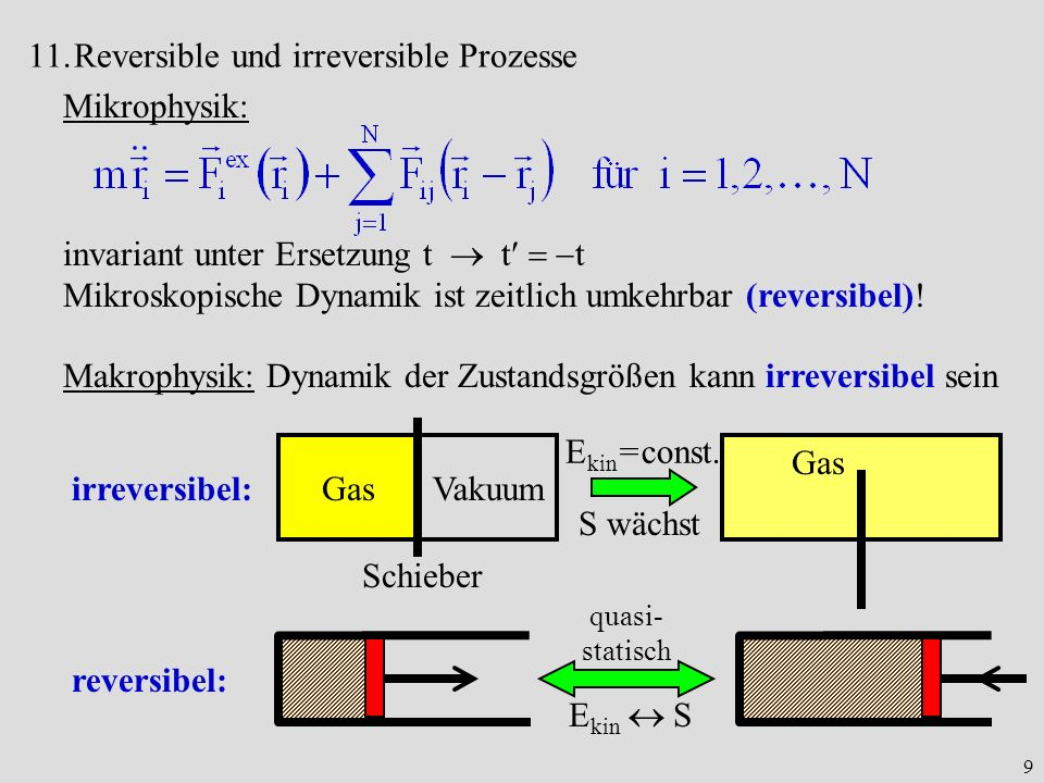 Reversible und irreversible Prozesse Mikrophysik: