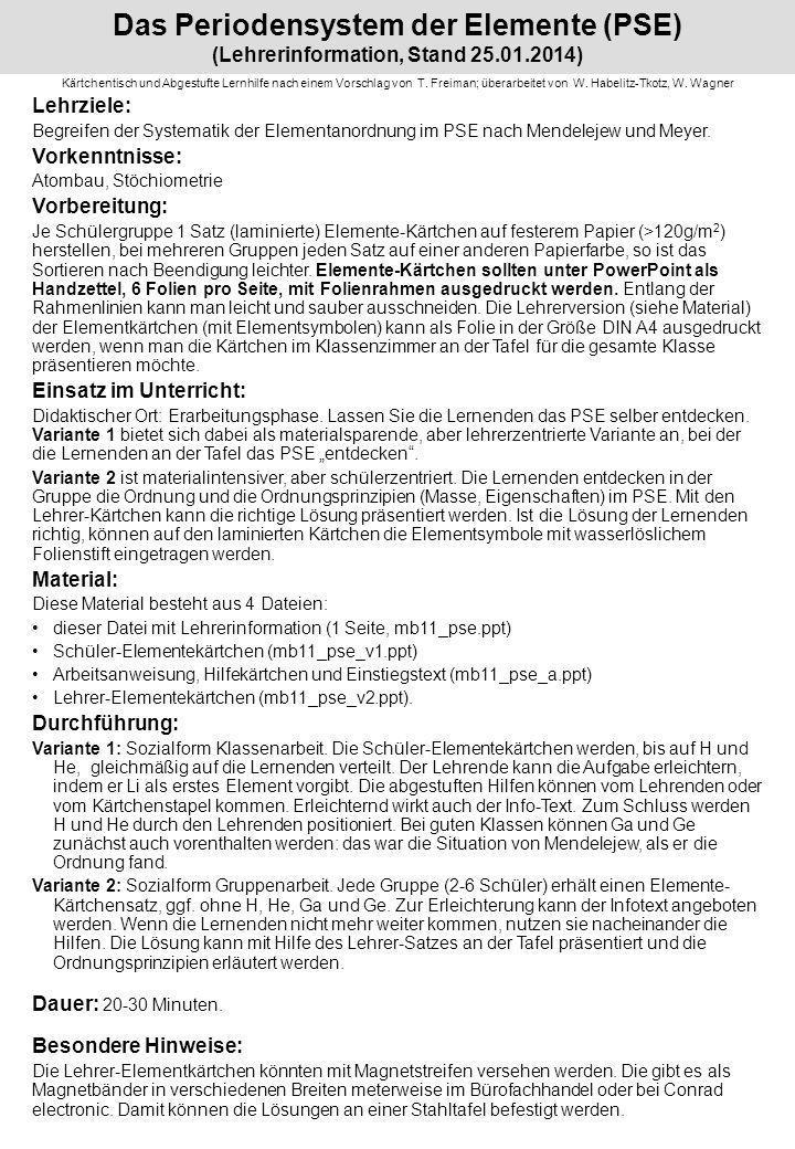 Das Periodensystem der Elemente (PSE) (Lehrerinformation, Stand 27. 03