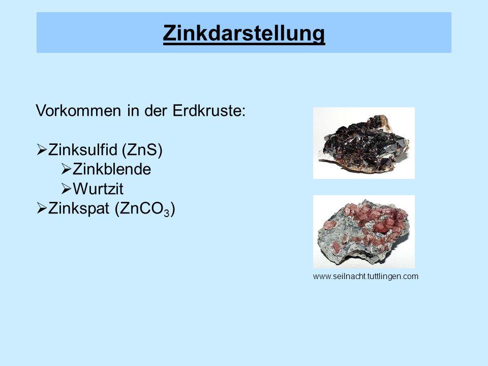 Zinkdarstellung Vorkommen in der Erdkruste: Zinksulfid (ZnS)