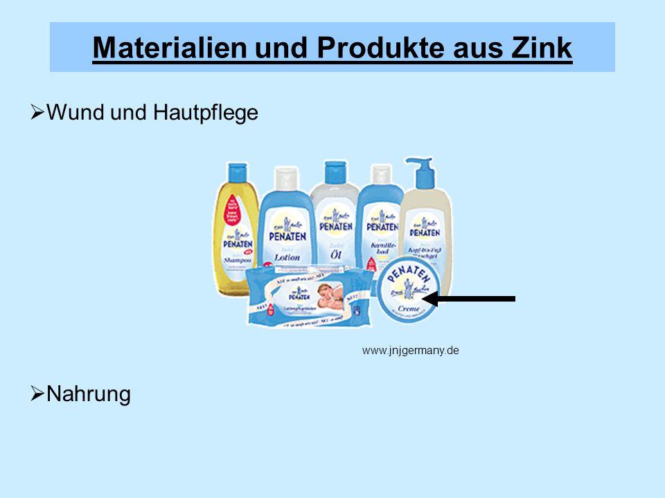 Materialien und Produkte aus Zink