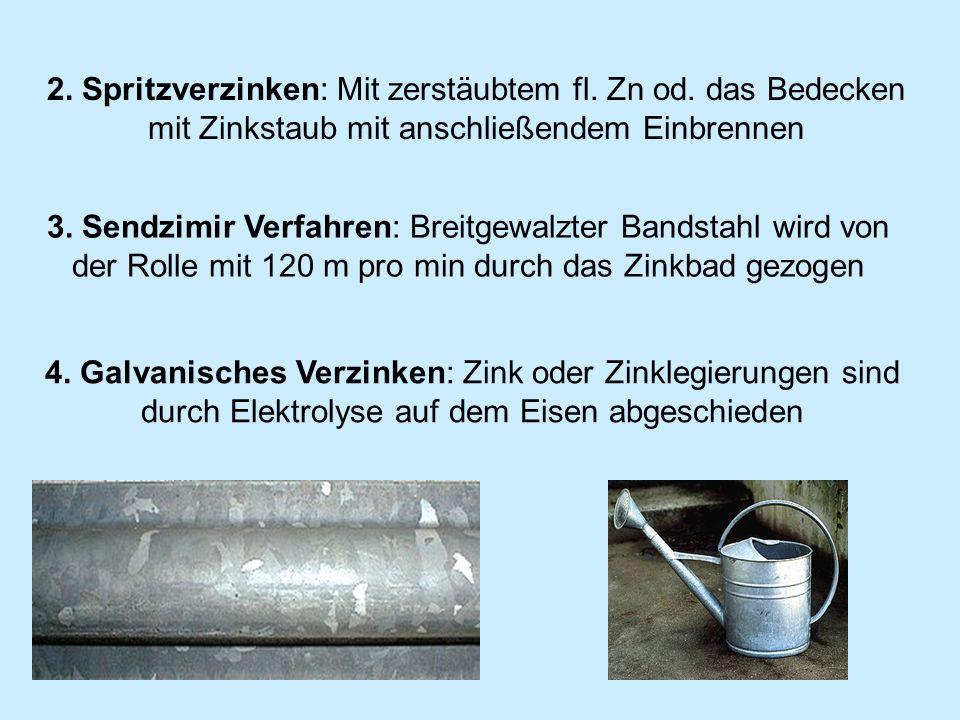2. Spritzverzinken: Mit zerstäubtem fl. Zn od