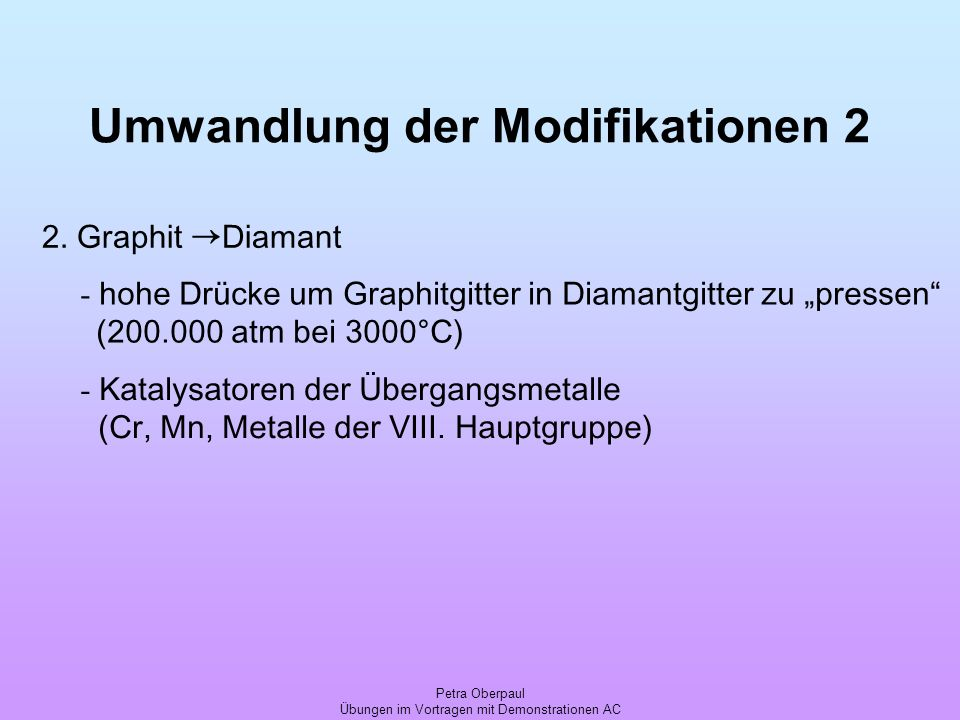 Umwandlung der Modifikationen 2
