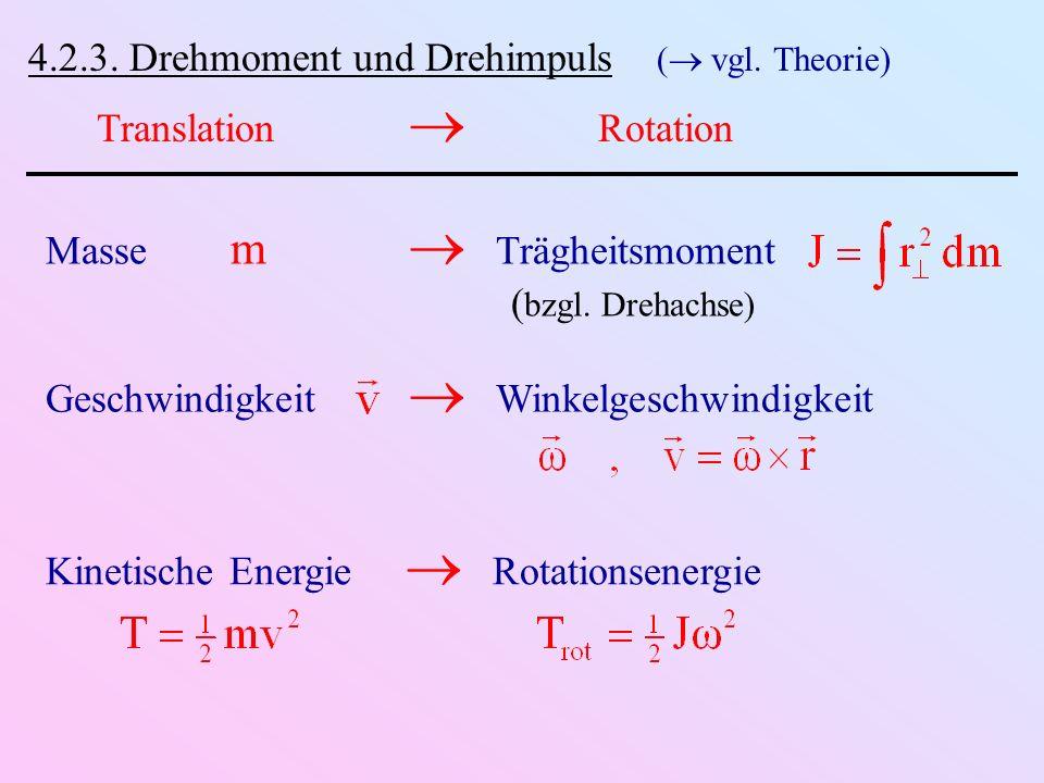 4.2.3. Drehmoment und Drehimpuls ( vgl. Theorie)