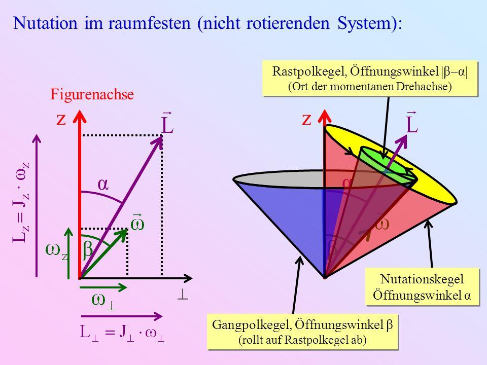 z z β α α β Nutation im raumfesten (nicht rotierenden System):