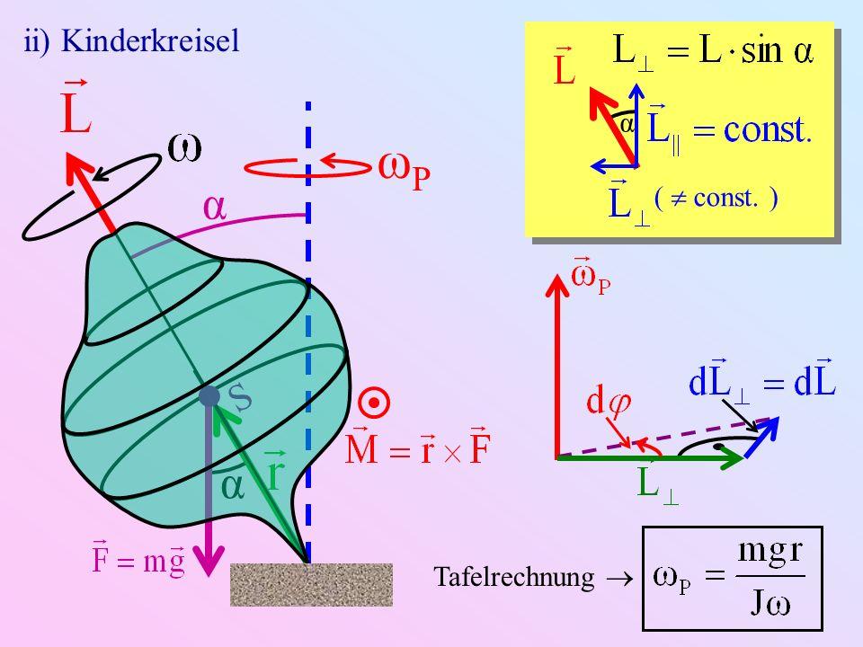 ii) Kinderkreisel α (  const. ) S ωP α α Tafelrechnung 