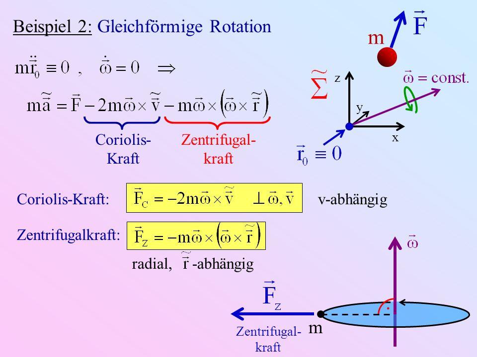 m . Beispiel 2: Gleichförmige Rotation m Coriolis-Kraft