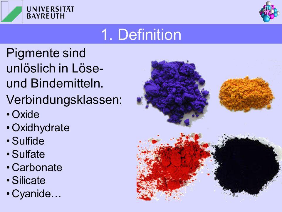1. Definition Pigmente sind unlöslich in Löse- und Bindemitteln.