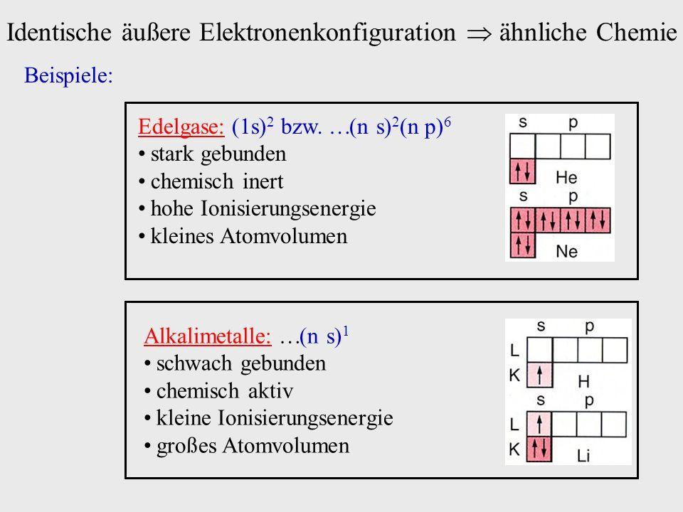 Identische äußere Elektronenkonfiguration  ähnliche Chemie