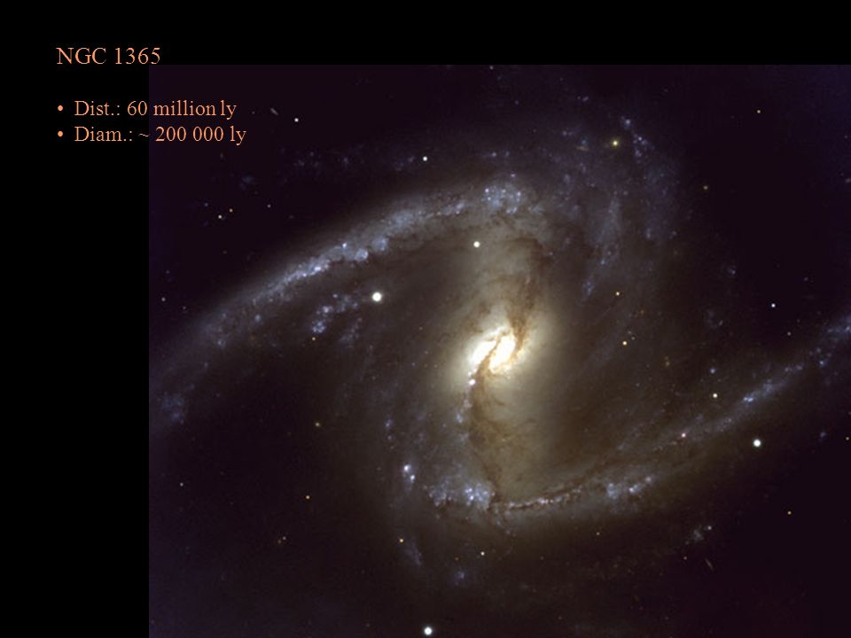 NGC 1365 Dist.: 60 million ly Diam.: ~ 200 000 ly