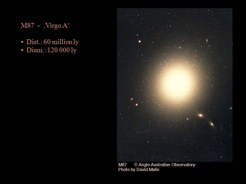 M87 - 'Virgo A' Dist.: 60 million ly Diam.: 120 000 ly