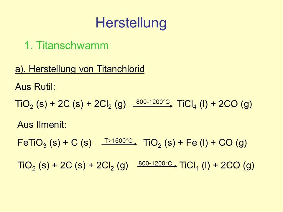 Herstellung 1. Titanschwamm a). Herstellung von Titanchlorid