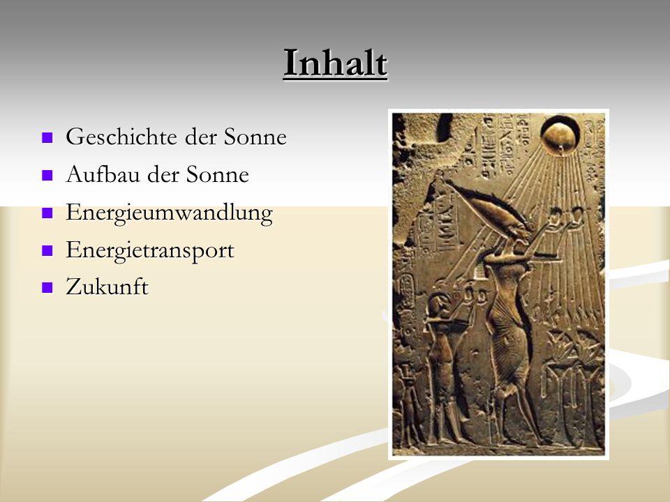 Inhalt Geschichte der Sonne Aufbau der Sonne Energieumwandlung