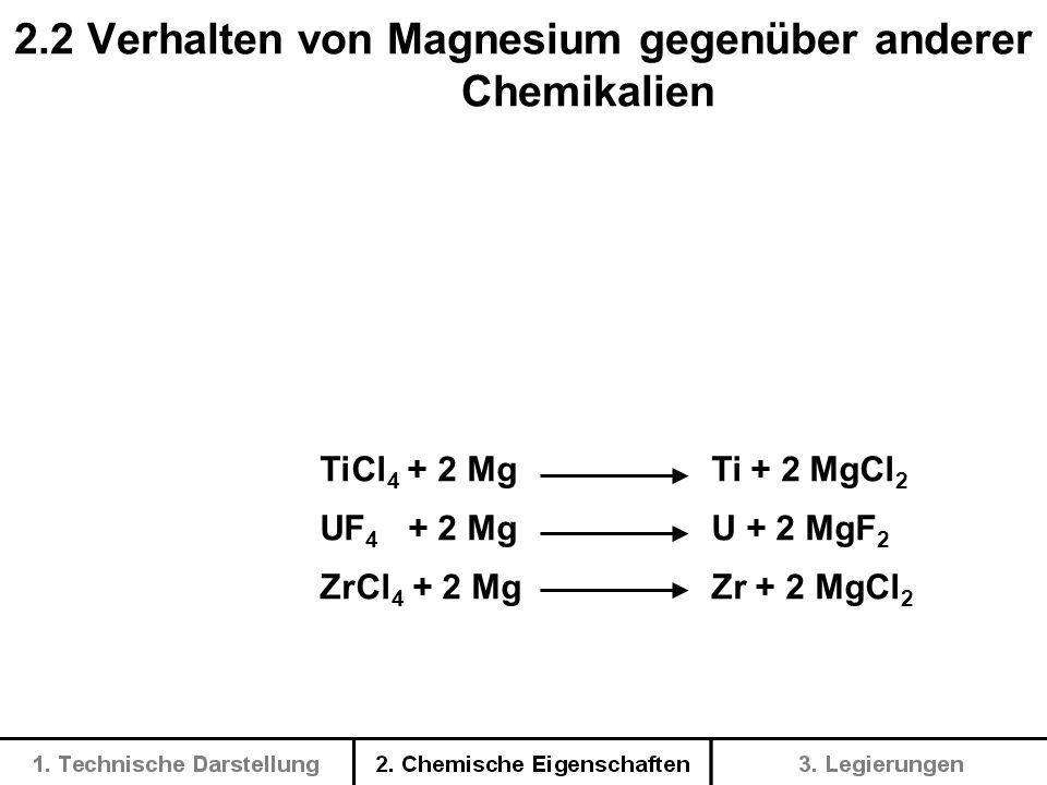 2.2 Verhalten von Magnesium gegenüber anderer Chemikalien
